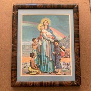 Vintage framed Virgin Mary artwork